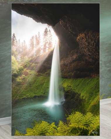Large Scenic Waterfall Wall Art Framed Fabric Decor