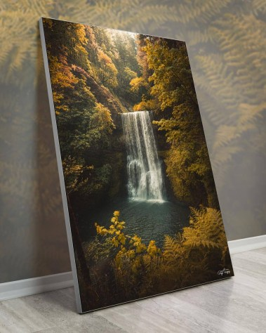 Oversized Woods Waterfall Wall Art Framed Fabric Decor