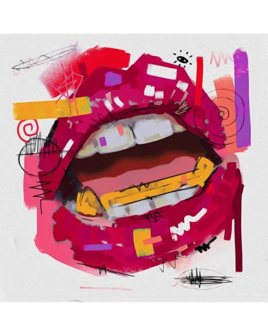 Large Open Lips Pop Art Grafitti Popular Culture Painted Wall Decor