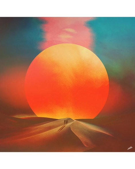 Desert Sunset Planet Collage Digital Surrealism Digital Illustration Large Wall Art
