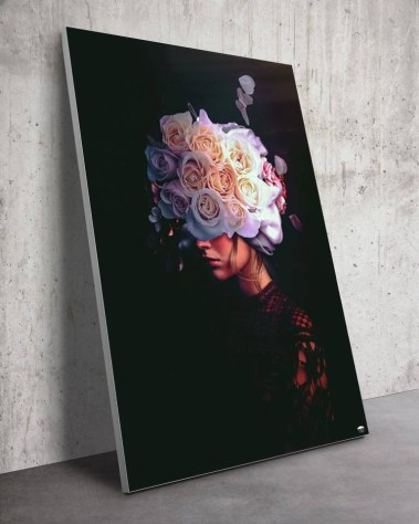 Surreal Women with White Roses Flowers Surrealism Trippy Wall Art for Oversized Home Decor