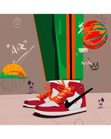 Large Nike Air Jordans Pop Art Basketball Brand Grafitti Popular Culture Painted Wall Decor
