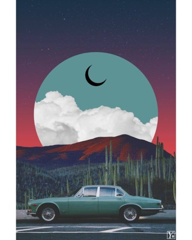 Big Surreal Vintage Jaguar Car Vaporwave Retro Collage Wall art for Home Decor by Yagedan
