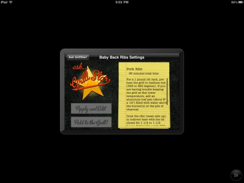 """Ask GrillStar"" screen"
