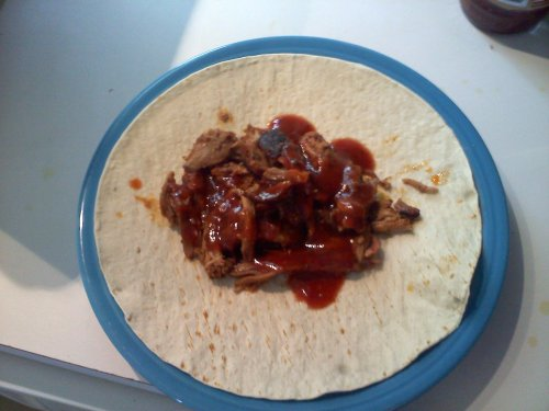 Pulled Pork Wrap with Williamson Bros. Spicy Chipotle BBQ Sauce