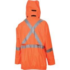 Men's orange Wabush Jacket backside with hood