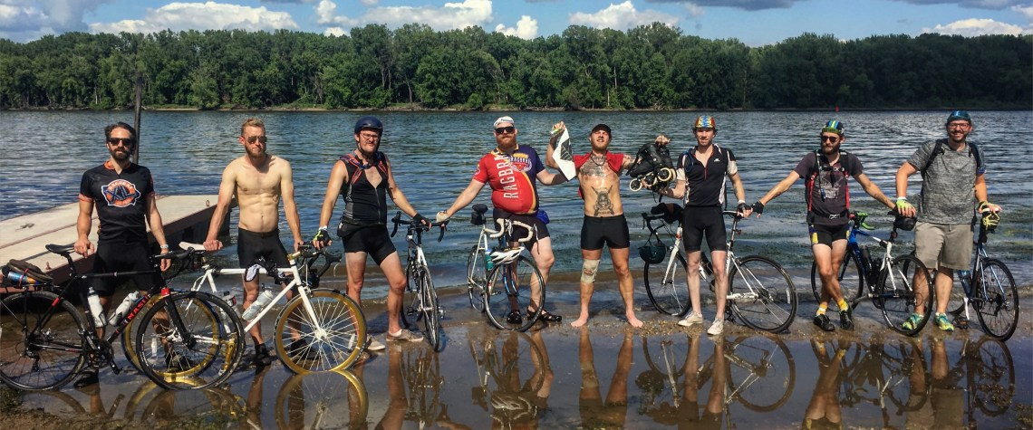 Caleb and his cycling friends at Ragbrai