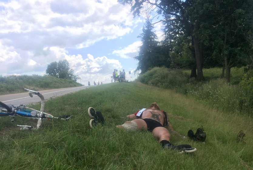 Caleb resting on the side of the road.