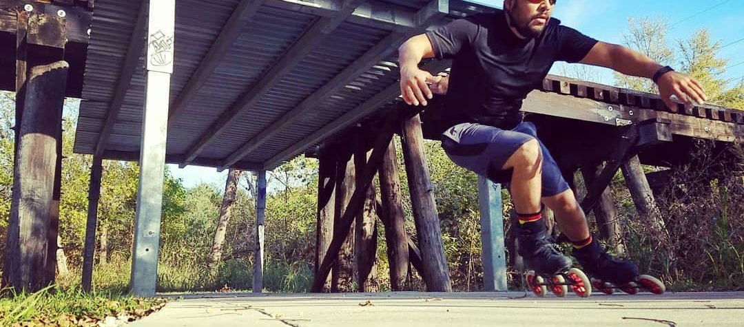 Eric Cruz skating on the Walnut Creek Trail