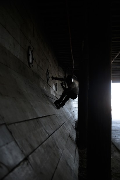 Wallride under the Santa Monica pier. Photo by Cletus Kuhn.