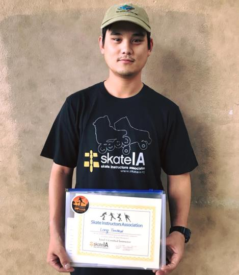 Long Tonthat of Oak City Skate Shop with his Skate IA Certification