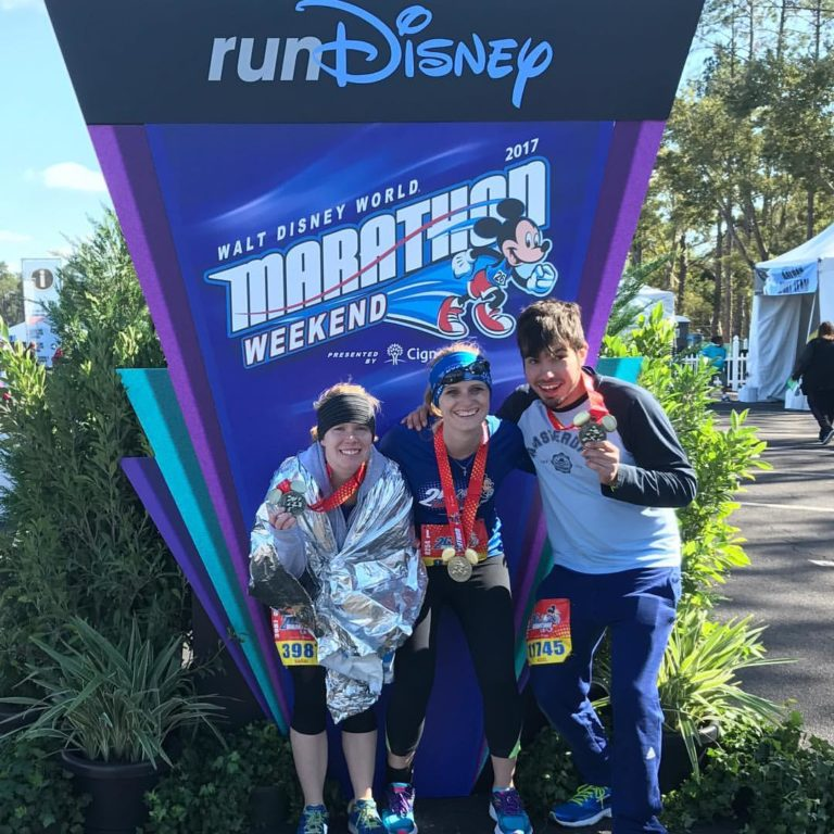 Me at the finish line of the Disney Marathon, which, unbeknownst to me at the time, I had started and finished on a stress-fractured hip