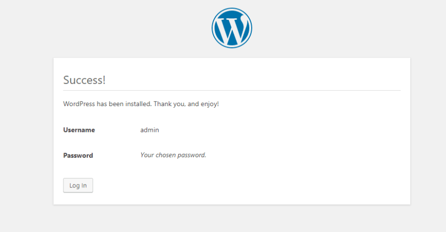 success of wordpress installation