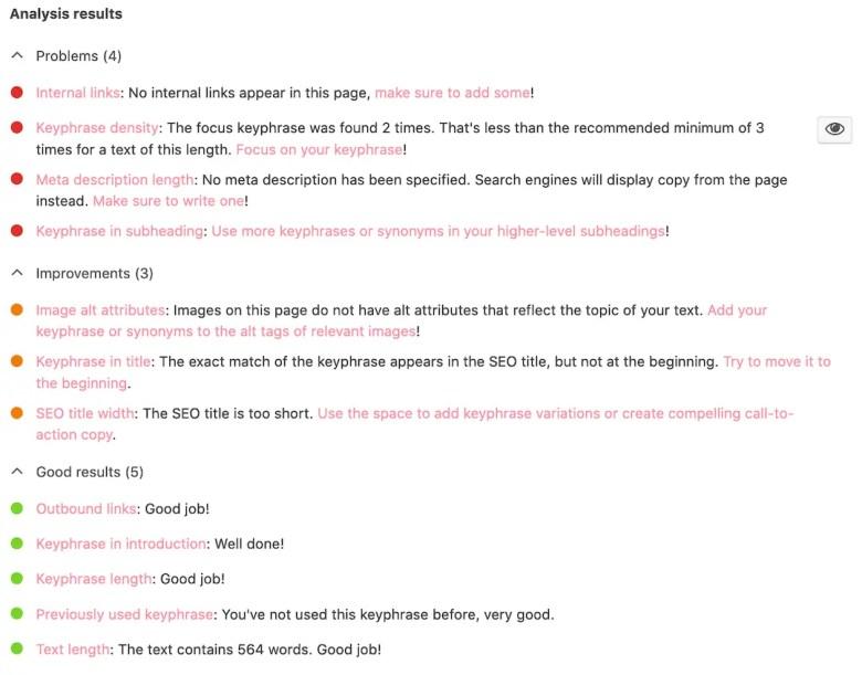 yoast seo analysis