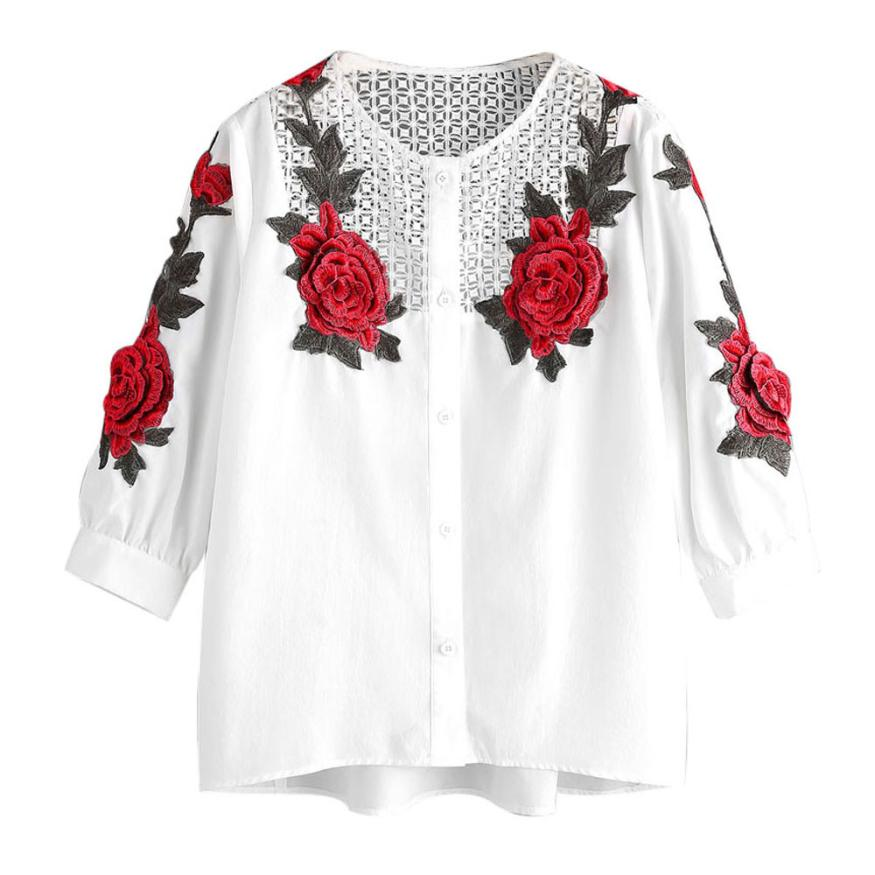 2017 Embroidered Lace Blouse Women Autumn Hollow Out White