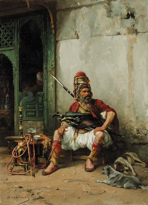 Башибузук даже на отдыхе не расстаётся с бенсилахом, полным оружия. Автор картины Stanisław Chlebowski, public domain