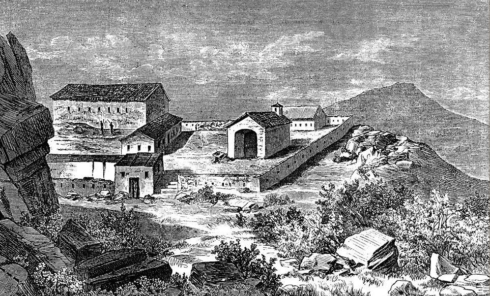 Монастырь Дужи на старой гравюре. Автор неизвестен, public domain
