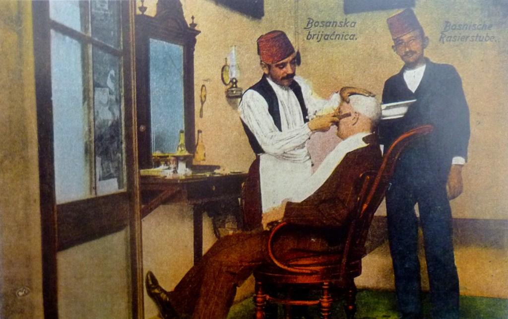 Цирюльня в Боснии на рубеже 19-20 веков. Автор фото неизвестен, public domain