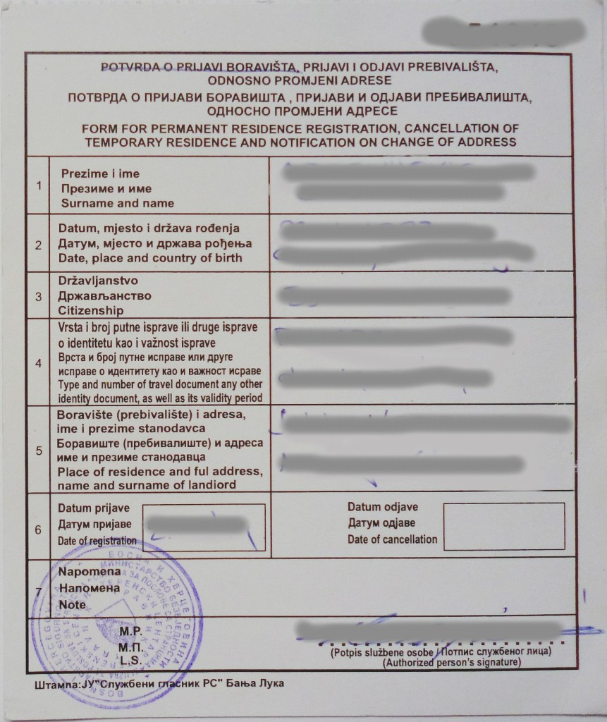 Подтверждение о регистрации. Фото: Елена Арсениевич, CC BY-SA 3.0