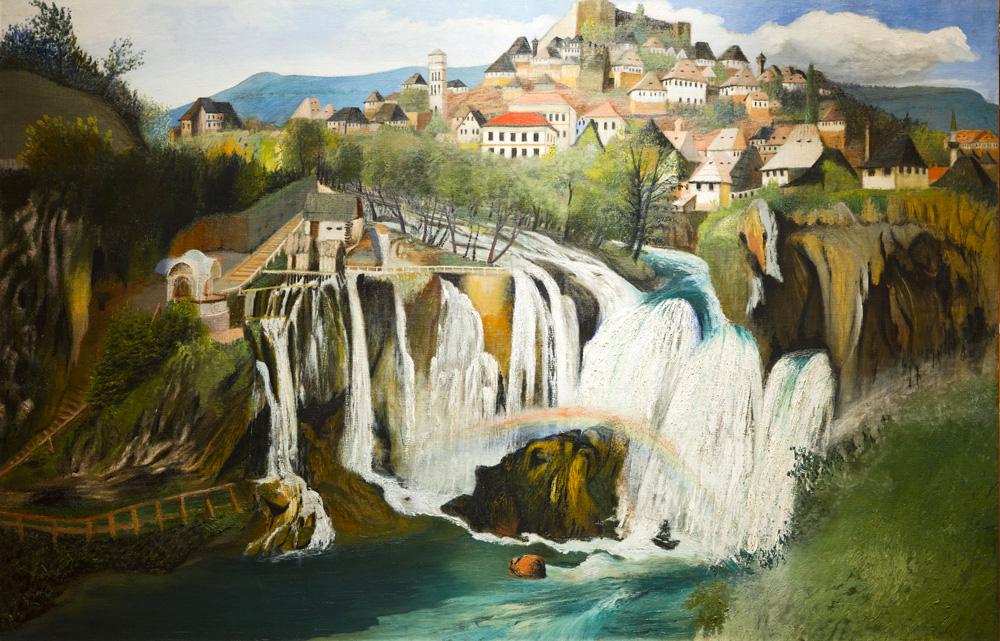 Водопад в Яйце, картина венгерского художника, 1903 год. Kosztka Mihály Tivadar, Public Domain
