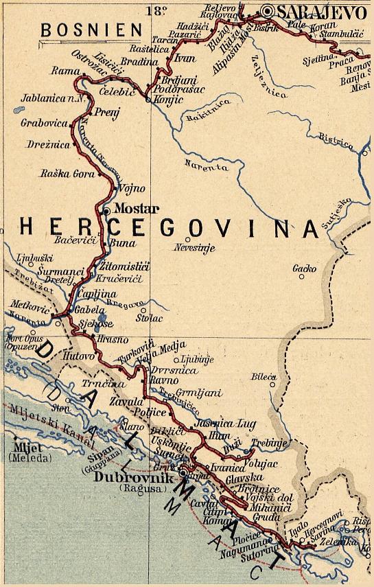 Фрагмент карты железных дорог в Боснии и Герцеговине в пост-австрийский период. W. Koch, C. Opitz: Eisenbahn- und Verkehrs-Atlas von Europa, Leipzig, public domain