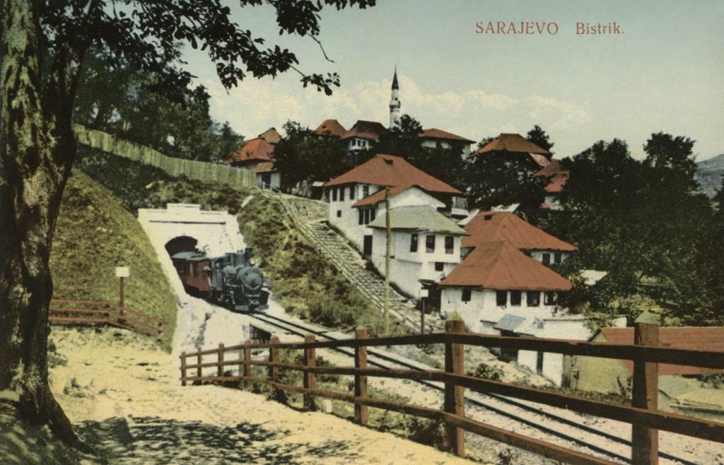 Туннель на Бистрике. Старая открытка. Daniel A. Kajon, Sarajevo, public domain