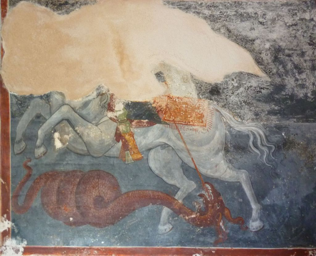 Георгий Победоносец, сохранившийся фрагмент фрески, автор Георгий Митрофанович. Фото: Елена Арсениевич, CC BY-SA 3.0