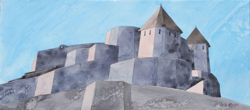 Крепость Тешань. Бумага, акварель, 2020. Автор: Елена Арсениевич