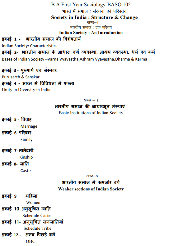 BA 1st Year Sociology Syllabus in Hindi