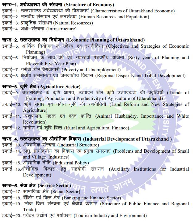 BA 2nd Year Economics Syllabus in Hindi PDF