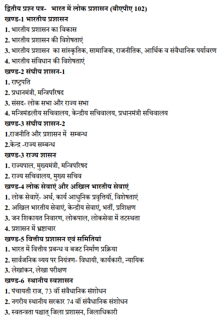 BA 1st Year Public Administration Syllabus in Hindi PDF