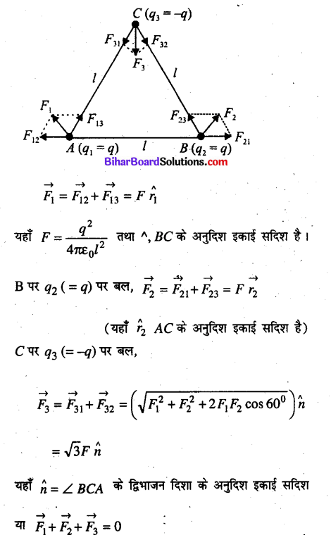 Bihar Board 12th Physics Objective Answers Chapter 1 वैद्युत आवेश तथा क्षेत्र - 20