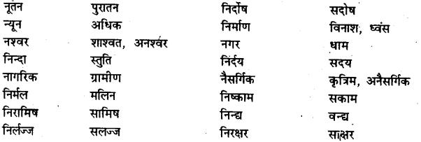 Bihar Board Class 12th Hindi व्याकरण विलोम या विपरीतार्थक शब्द 10