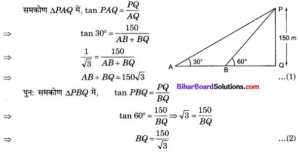 Bihar Board Class 10 Maths Solutions Chapter 9 त्रिकोणमिति के कुछ अनुप्रयोग Additional Questions SAQ 2