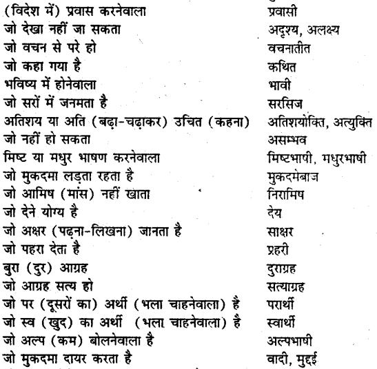 Bihar board class 9 hindi व्याकरण अनेक शब्दों के लिए एक शब्द - 5