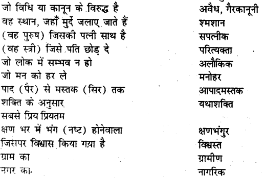 Bihar board class 9 hindi व्याकरण अनेक शब्दों के लिए एक शब्द - 9