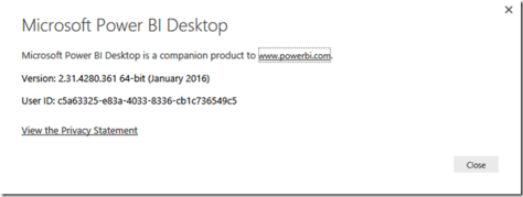 Power BI Desktop Version