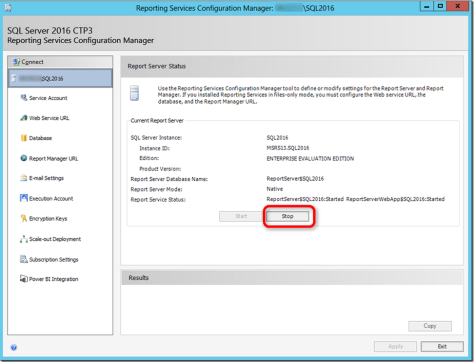 SSRS 2016 Configuration Manager