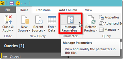 Power BI Desktop Manage Parameters