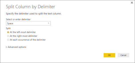 Power BI Desktop Split Column