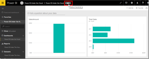 Power BI Data Classification on Dashboards