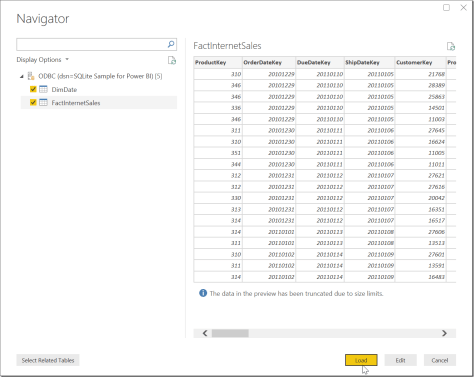 Power BI Select Tables
