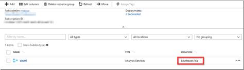Azure Analysis Services Region