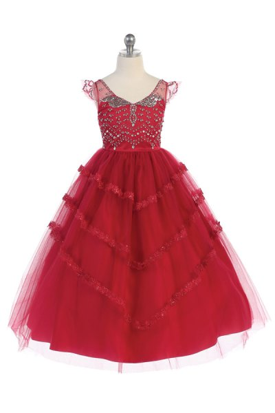 Girls burgundy ballgown dress special occasions flower girl