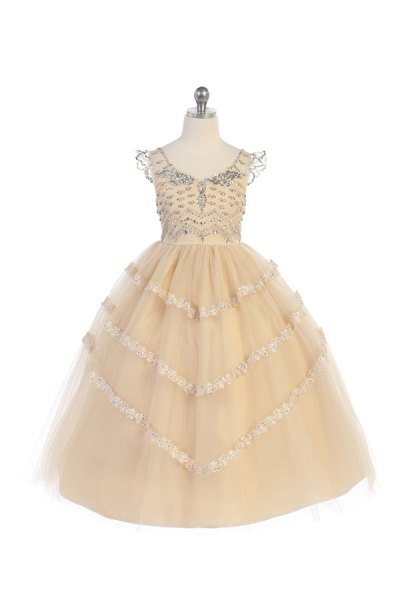 champagne ballgown dress for girls with rhinestones in the bodice