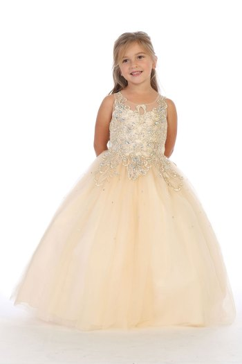 8044 vestido de niñas oro mayoreo