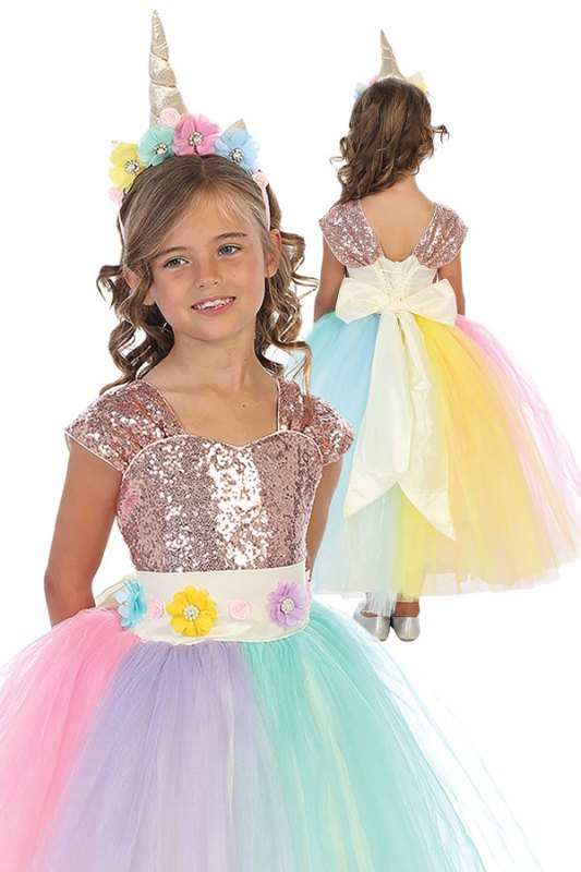 wholesale unicorn rainbow dress