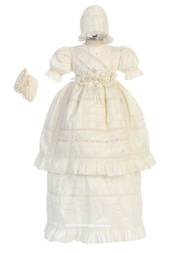 Christening gown for baby girls in ivory available in sizes 6m 12m and 24m