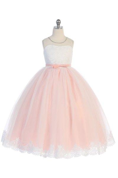 8030 wholesale blush dress with white top, mayoreo vestido de niñas