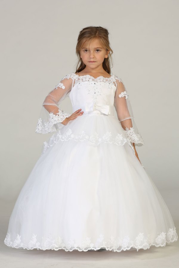 Wholesale girls dress with long sleeve and double tier gown